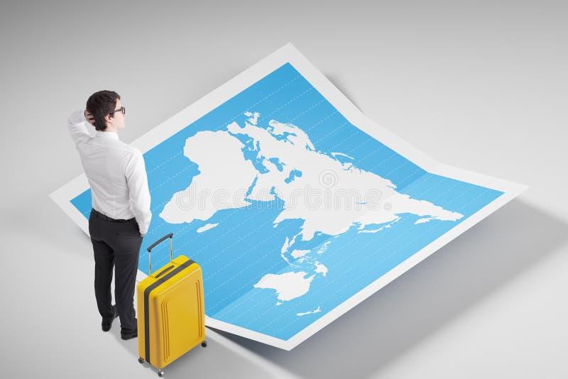 Biznesmen w koszulowej patrzeje światowej mapie royalty ilustracja