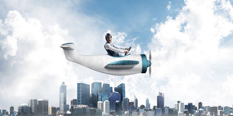 Biznesmen w lotnik?w gogle i kapeluszu ilustracji