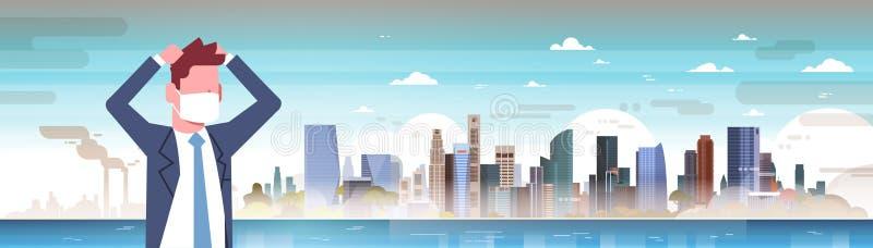 Biznesmen w maskowej chwyt głowie nad natury zanieczyszczenia powietrza miasta krajobrazu rośliny drymby brudnym ścieki zanieczys royalty ilustracja