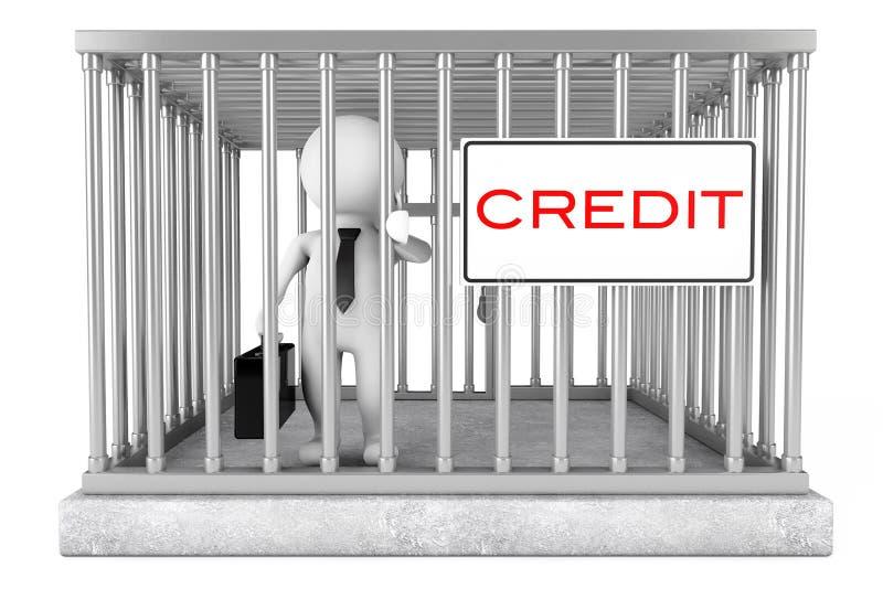 Biznesmen w metal klatce z Kredytowym Szyldowym talerzem świadczenia 3 d royalty ilustracja