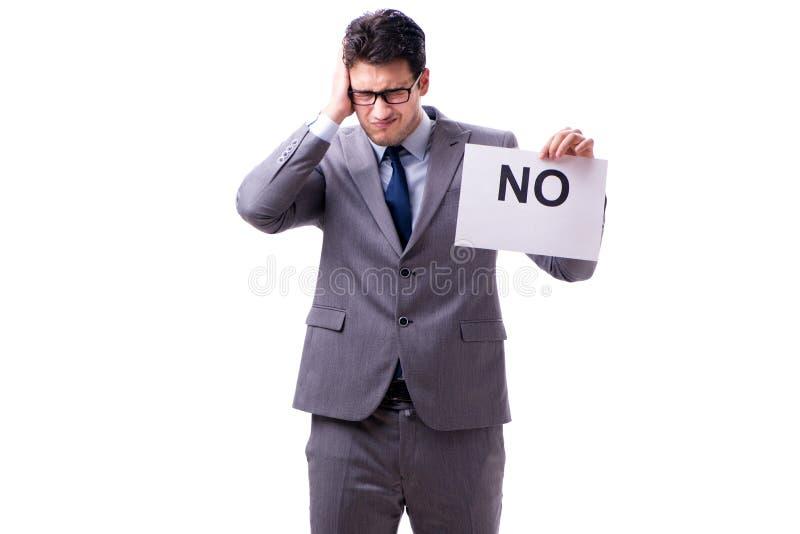 Biznesmen w negatywnym braku odpowiedzi odizolowywającym na białym tle obrazy stock