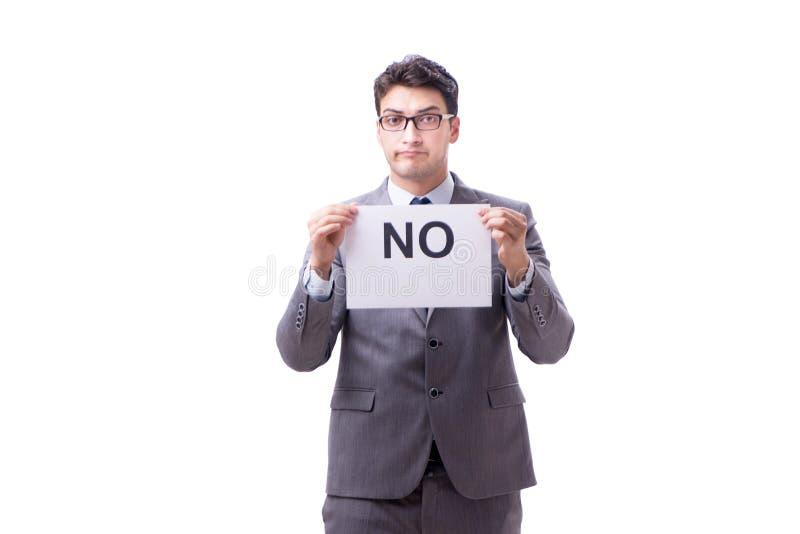 Biznesmen w negatywnym braku odpowiedzi odizolowywającym na białym tle zdjęcie royalty free