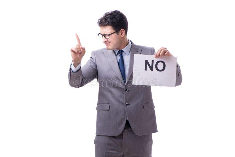 Biznesmen w negatywnym braku odpowiedzi odizolowywającym na białym tle obraz royalty free
