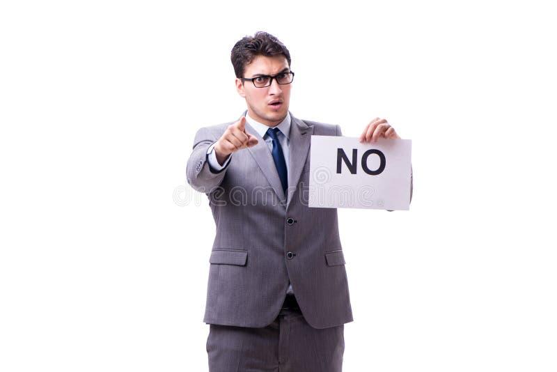 Biznesmen w negatywnym braku odpowiedzi odizolowywającym na białym tle obrazy royalty free