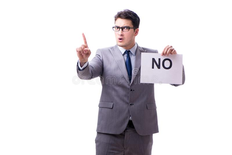 Biznesmen w negatywnym braku odpowiedzi odizolowywającym na białym tle obraz stock