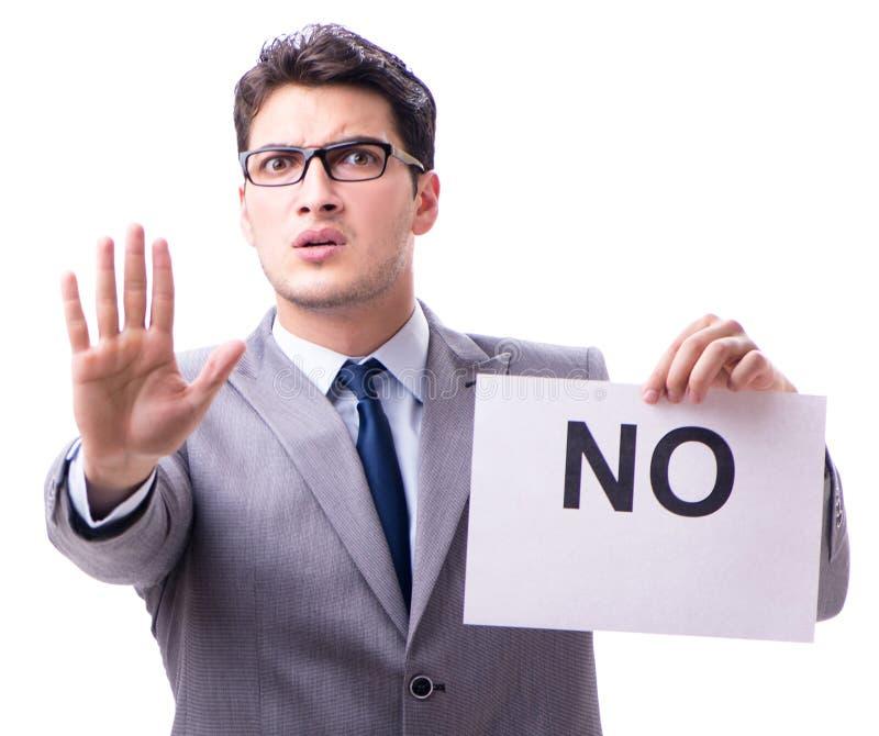Biznesmen w negatywnym braku odpowiedzi odizolowywaj?cym na bia?ym tle zdjęcia royalty free