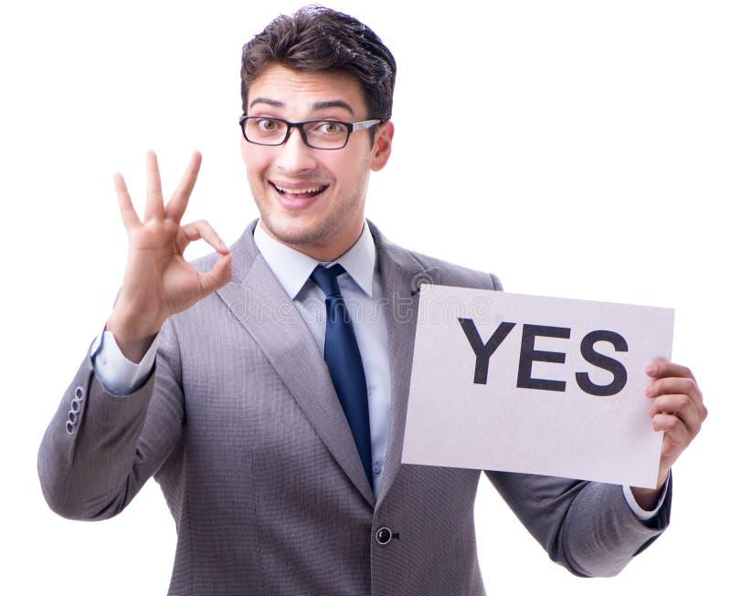 Biznesmen w pozytywnej tak odpowiedzi odizolowywaj?cej na bia?ym tle obrazy stock