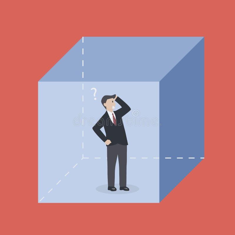 Biznesmen w pudełku ilustracji