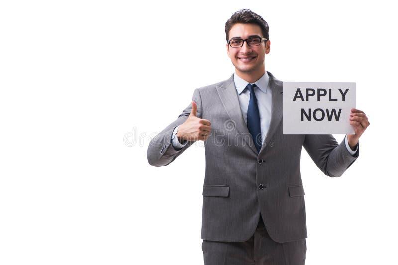 Biznesmen w rekrutacyjnym pojęciu odizolowywającym na białym tle zdjęcia stock