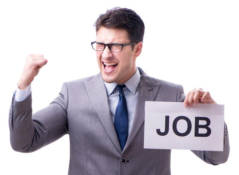 Biznesmen w rekrutacyjnym poj?ciu odizolowywaj?cym na bia?ym tle zdjęcie royalty free