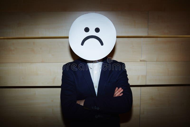 Biznesmen w Smutnej masce zdjęcia royalty free