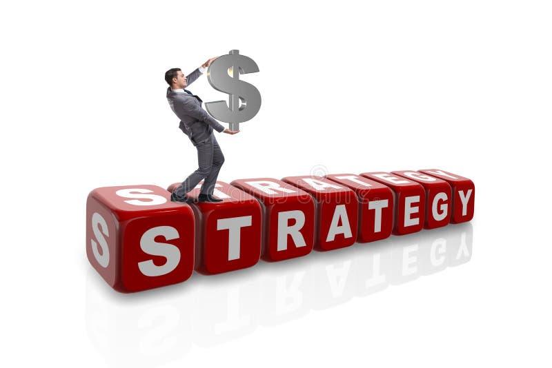 Biznesmen w strategii biznesowym pojęciu z dolarowym znakiem na whi zdjęcie royalty free