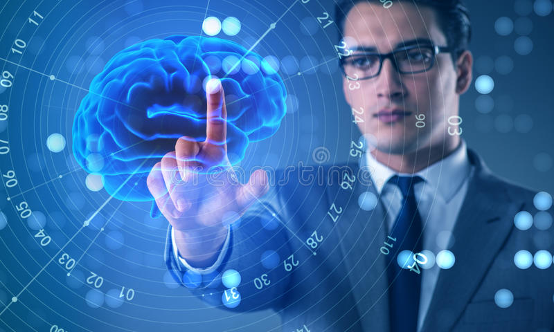Biznesmen w sztucznej inteligenci pojęciu obraz royalty free