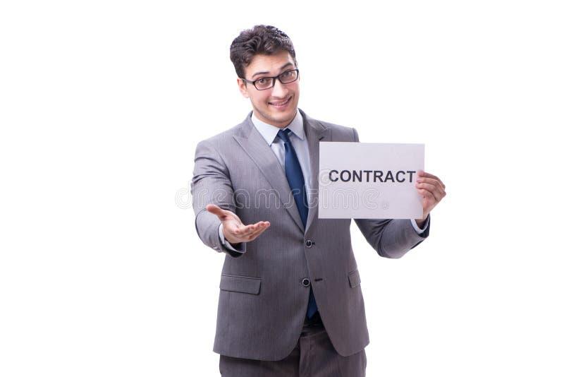 Biznesmen w zatrudnieniowego kontrakta pojęciu odizolowywającym na białym bac obraz royalty free