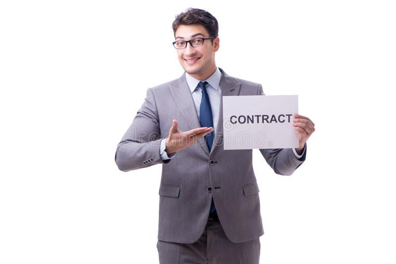 Biznesmen w zatrudnieniowego kontrakta pojęciu odizolowywającym na białym bac fotografia stock