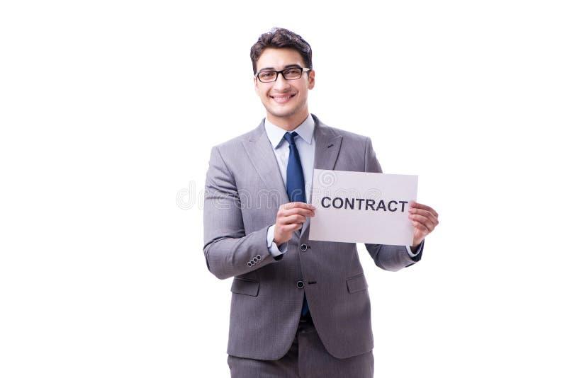 Biznesmen w zatrudnieniowego kontrakta pojęciu odizolowywającym na białym bac obraz stock