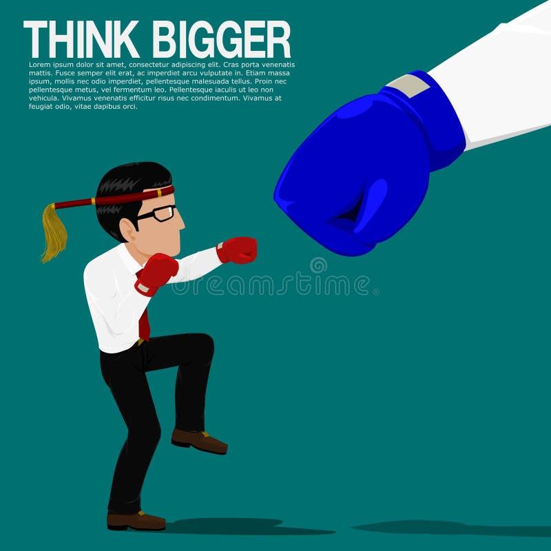 Biznesmen walka z dużym konkurentem royalty ilustracja