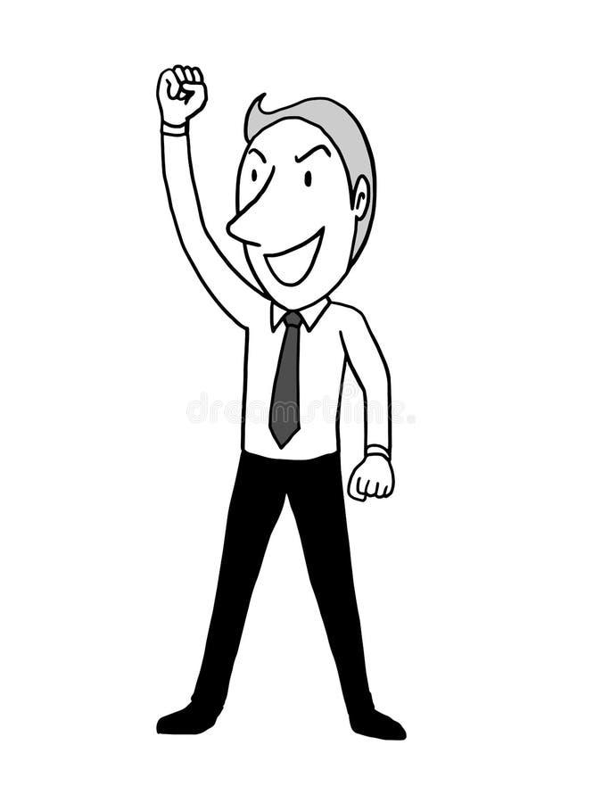 Biznesmen wręcza w górę koszt stały jako lider motywuje biznesowego pojęcie odosobniona wektorowa ilustracyjna ręka rysująca kont ilustracja wektor