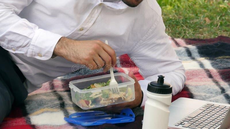 Biznesmen wsiting na zielonej trawie, je lunch, zdjęcie royalty free