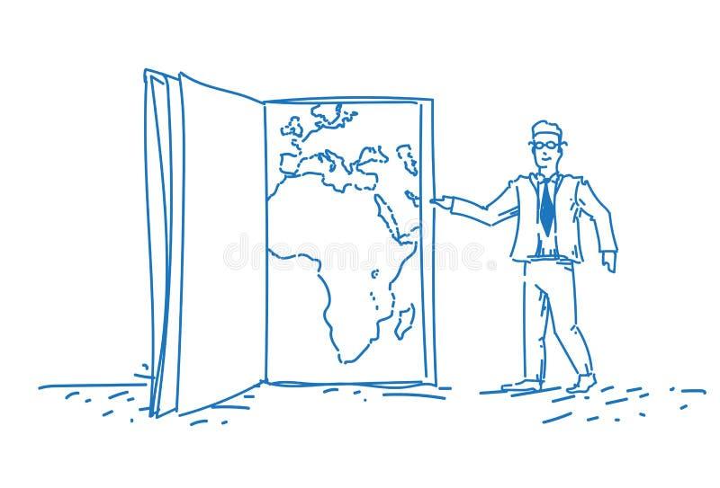 Biznesmen wskazuje światowej mapy książki strony miejsca przeznaczenia pojęcia planety geografii nauczyciela samiec globalnego po royalty ilustracja