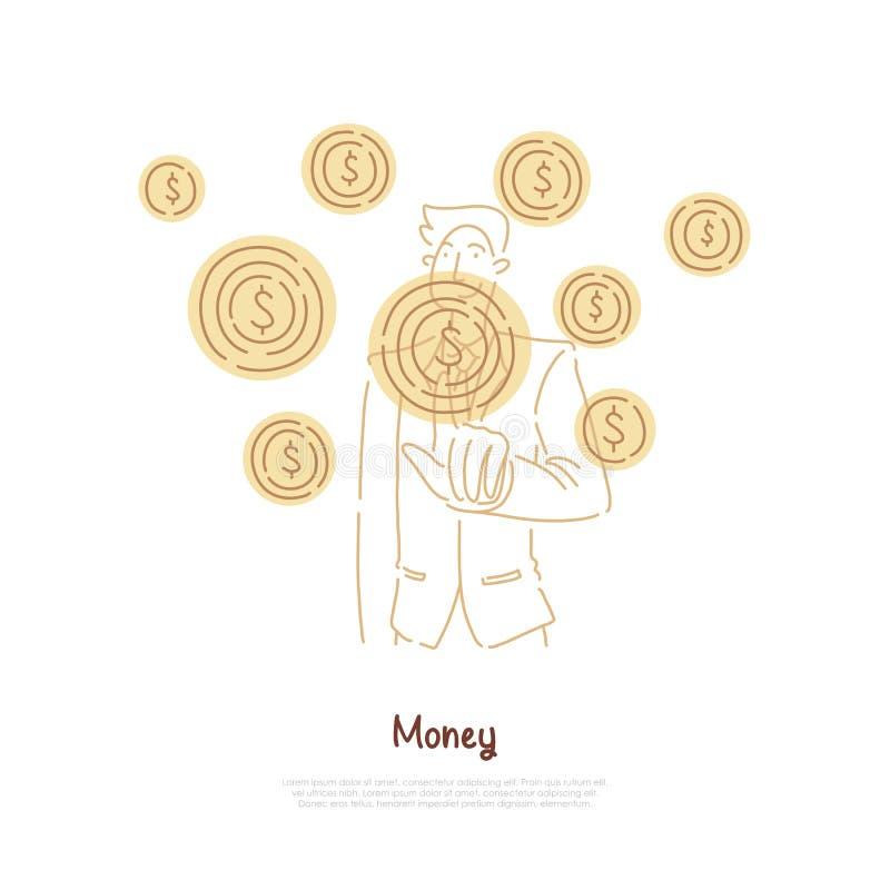 Biznesmen wskazuje przy dolarowym symbolem, rozwój biznesu, struktura gospodarcza, pieniądze zarządzania sztandar ilustracji