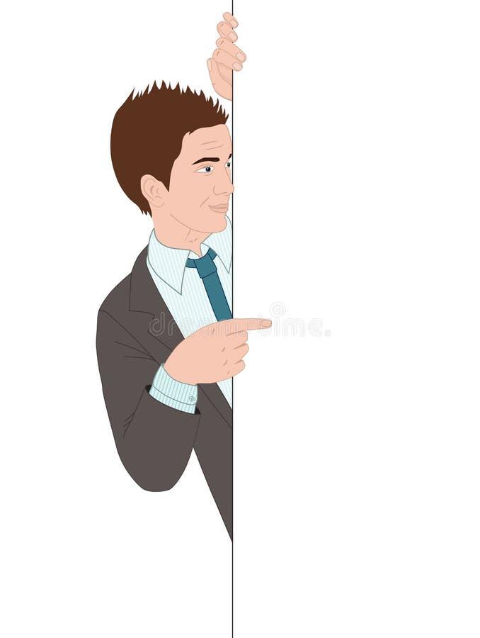 Biznesmen wskazuje sztandar ilustracji