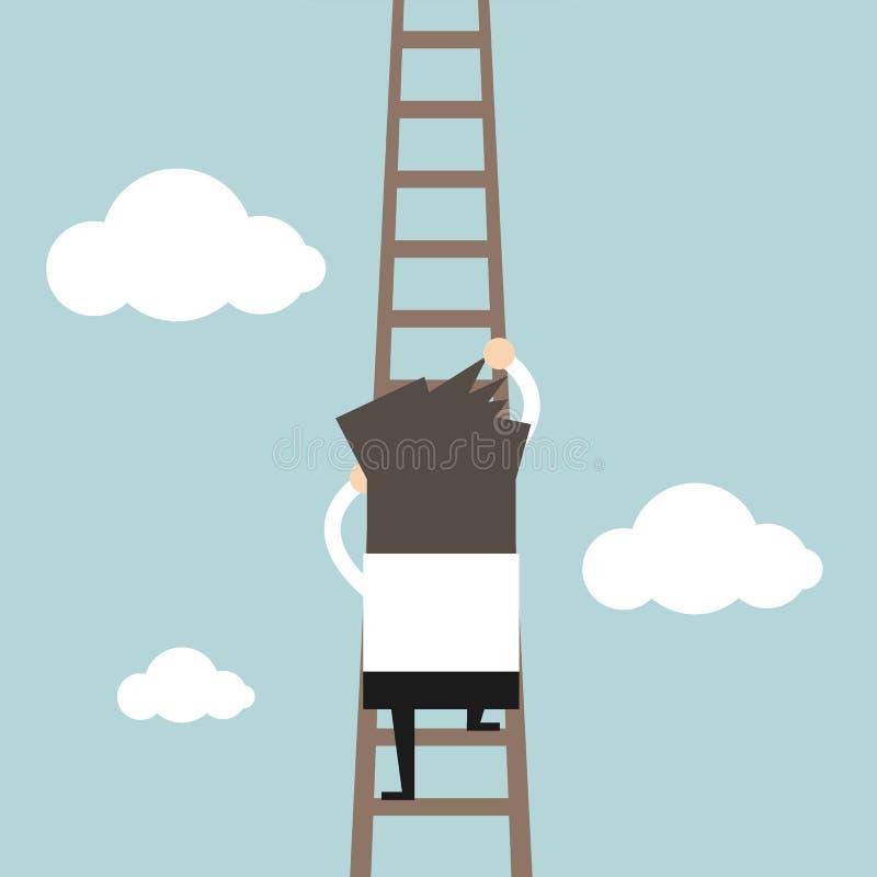 Biznesmen wspina się drabinę ilustracji