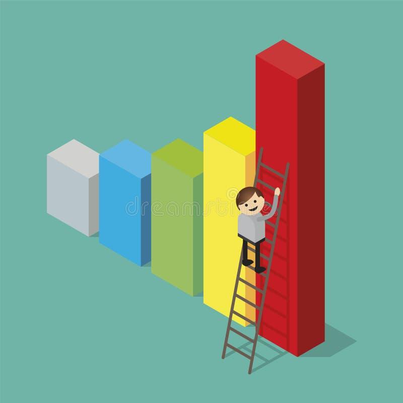biznesmen wspina się drabinę ilustracja wektor