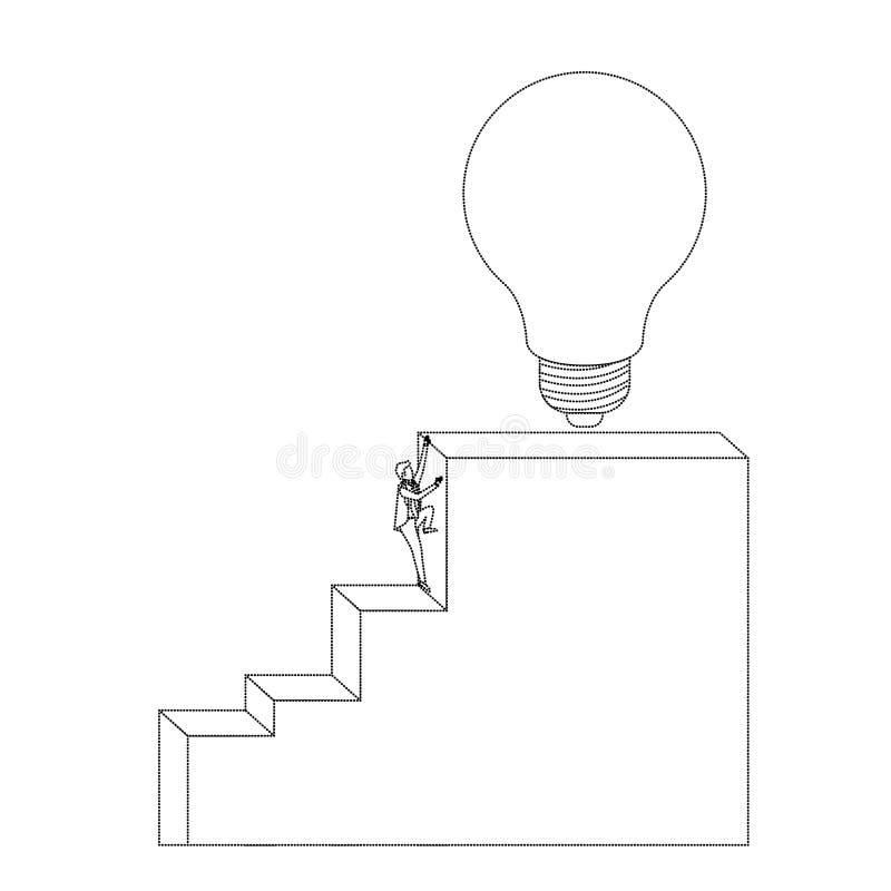 Biznesmen wspinaczkowa schodowa blokowa struktura z żarówką w odgórnej monochromatycznej sylwetce kropkującej royalty ilustracja