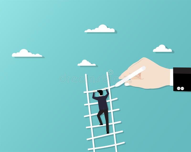 Biznesmen wspinaczkowy w g?r? schody ilustracja wektor