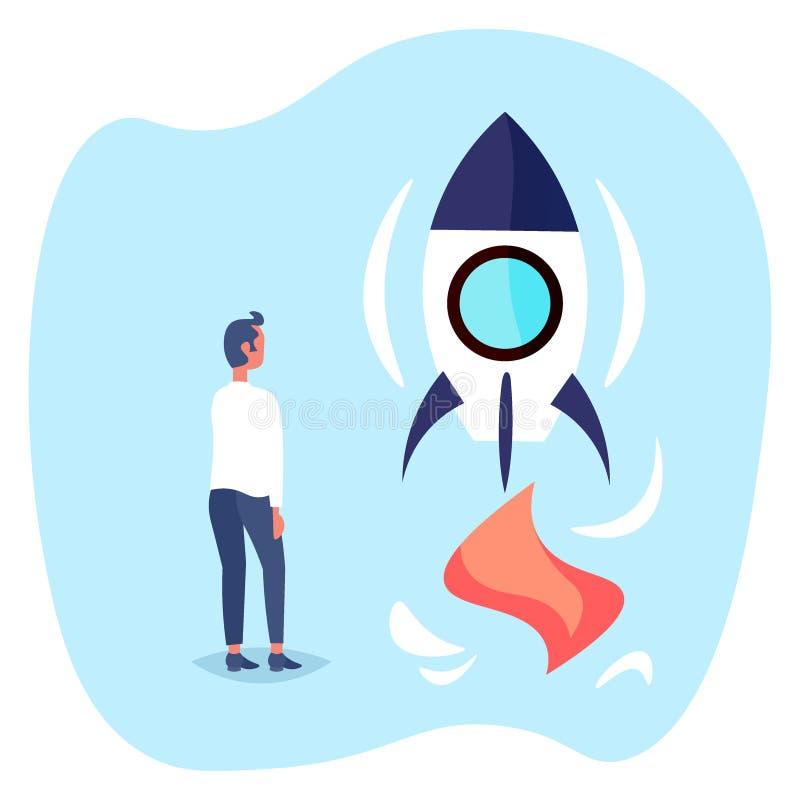 Biznesmen wszczyna rakietową nową początkową projekta pojęcia biznesowego mężczyzny brainstorming strategię ilustracja wektor