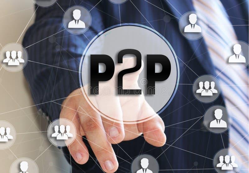 Biznesmen wybiera P2P, rówieśnik ono przyglądać się na ekranie dotykowym R?wie?nik przygl?da? si? po?yczania poj?cie ilustracja wektor