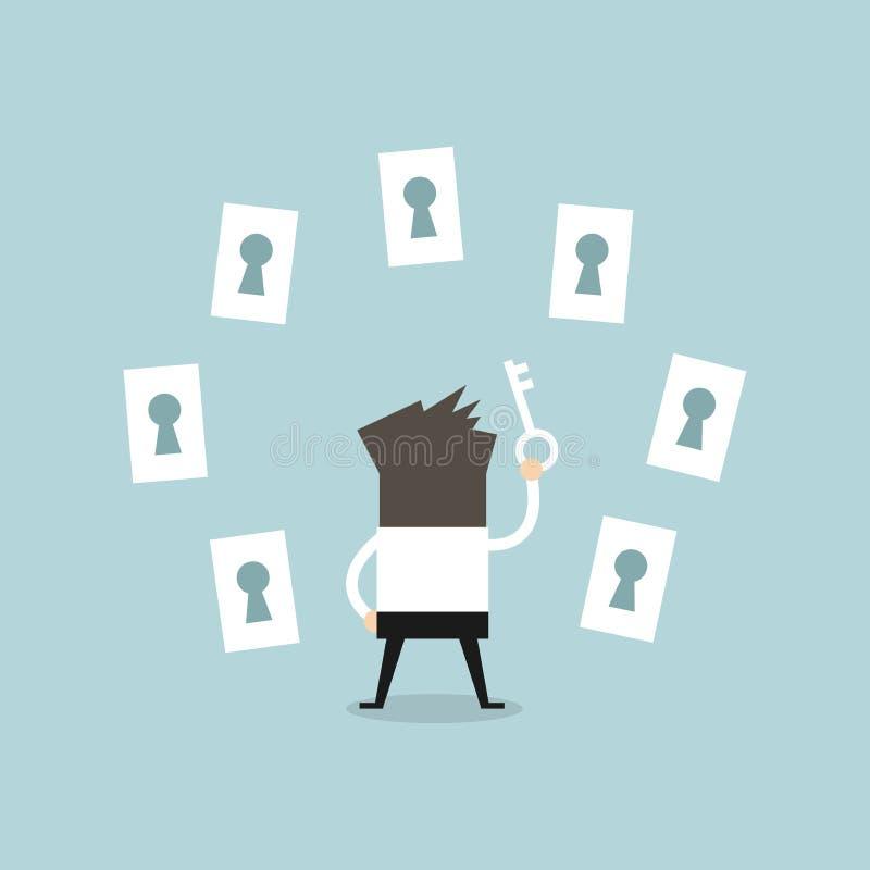 Biznesmen wybiera prawego keyhole royalty ilustracja
