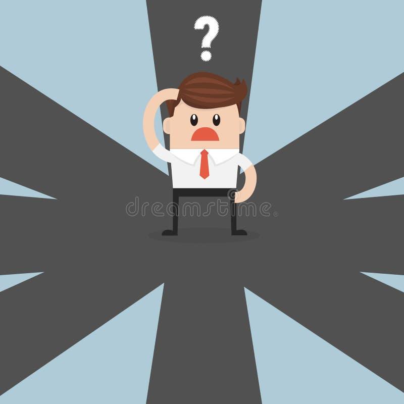 Biznesmen wybiera przyszłego kierunek sukces na rozdrożu ilustracja wektor