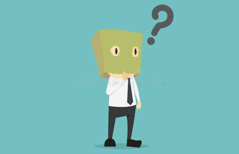 Biznesmen wybiera z pudełkiem w głowie Kreskówka biznes ilustracja wektor