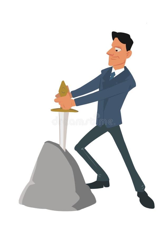 Biznesmen wybierająca przeznaczenie kordzika kamienia kreskówka ilustracja wektor