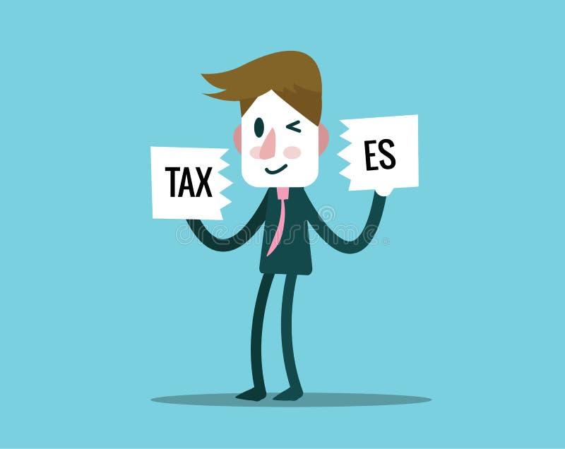 Biznesmen wycinanki podatków papier finansowy i zysk pojęcie ilustracji