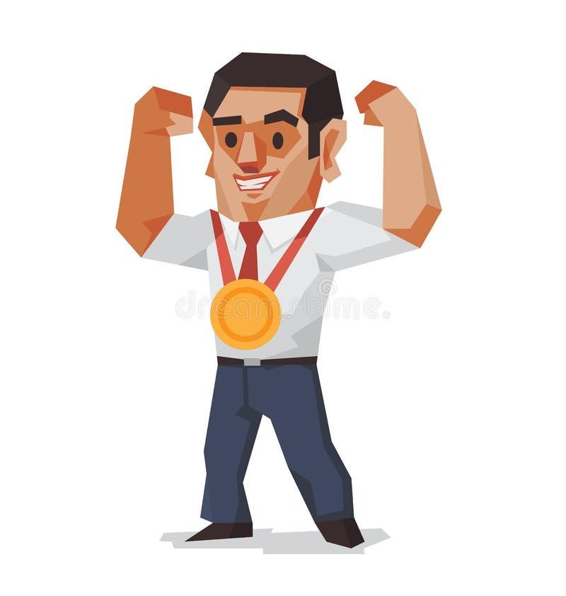 Biznesmen wygrana złoty medal ilustracja wektor