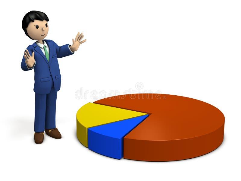 Biznesmen wyjaśnia rezultaty badanie rynku royalty ilustracja