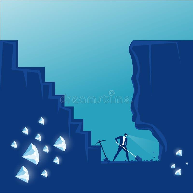 Biznesmen wykopuje ziemię w poszukiwaniu ukrytego diamentu Ilustracja wektorowa ilustracja wektor