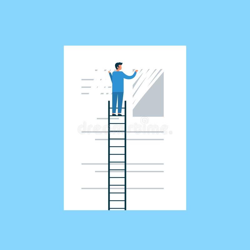 Biznesmen wymazuje informacja dane pojęcia jasnego mężczyzna na drabinowego delate ewidencyjnym płaskim błękitnym tle ilustracja wektor