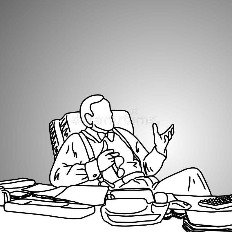 Biznesmen z łęku krawatem na jego upaćkanym pracującym biurko wektoru illust royalty ilustracja