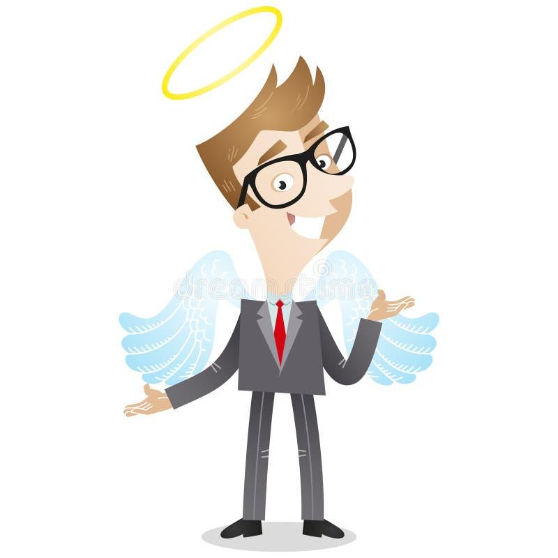 Biznesmen z aniołów halo i skrzydłami ilustracji