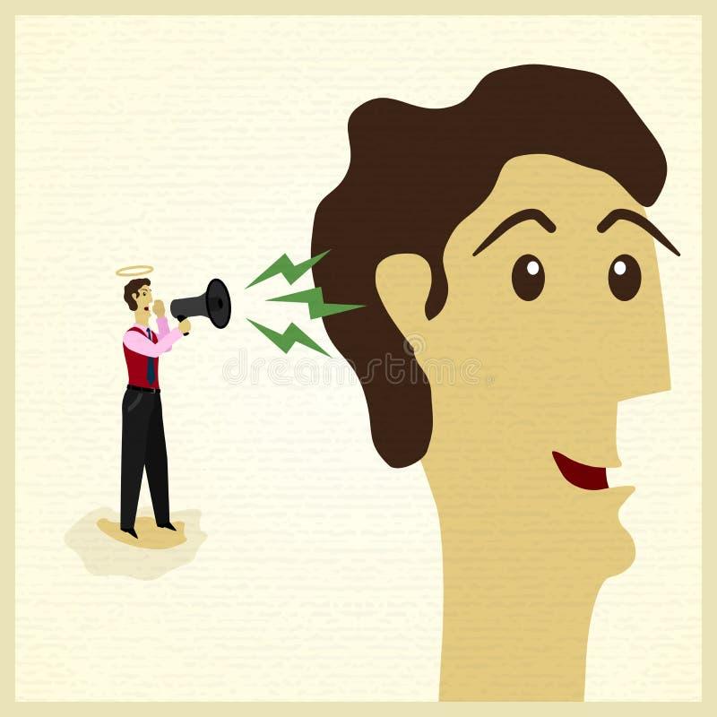 Biznesmen z aniołem. ilustracja wektor