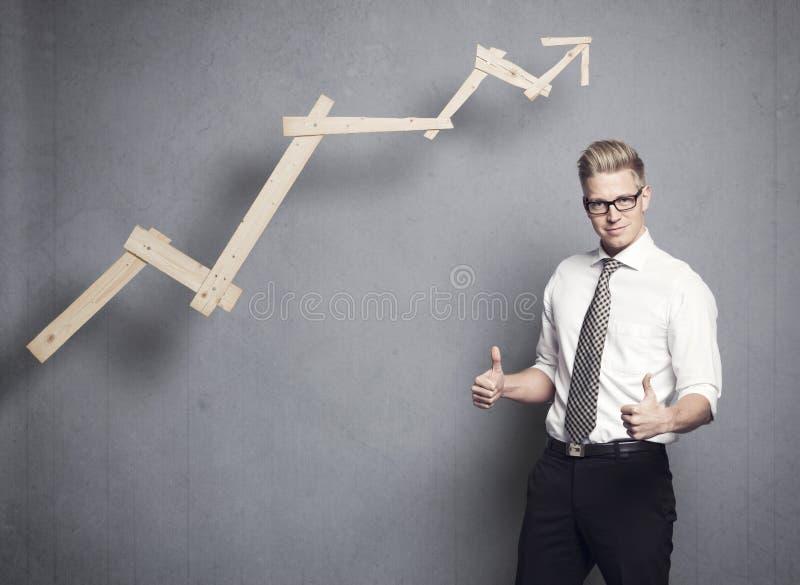 Biznesmen z aprobatami zdjęcie stock