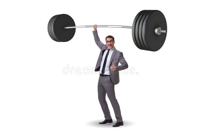 Biznesmen z barbell w ciężkim podnośnym pojęciu zdjęcie stock