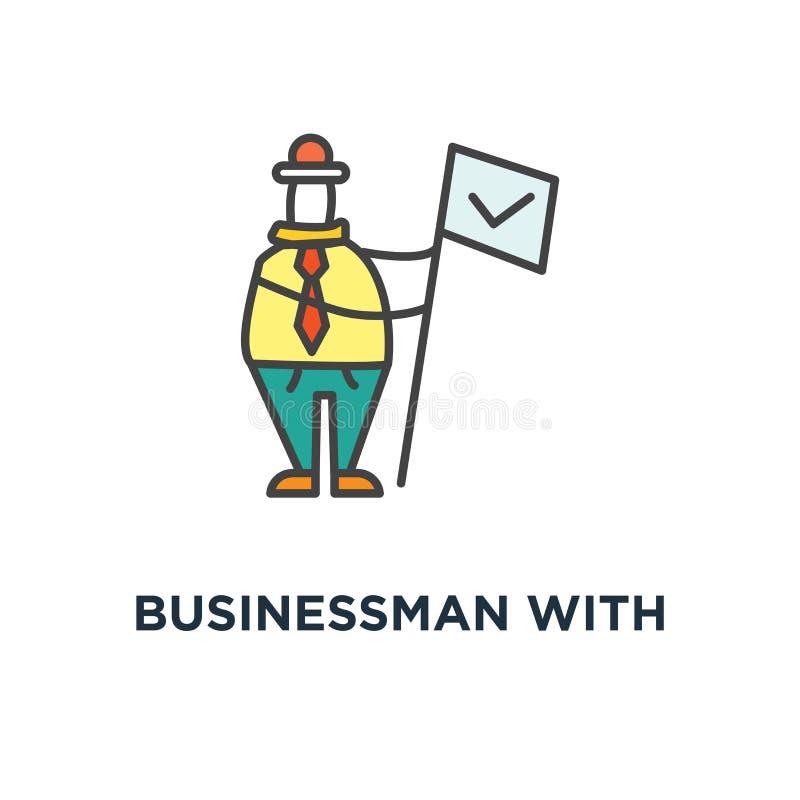 biznesmen z biznesową nagrody pozycją na piedestał ikonie, symbol pierwszy miejsce na podium z medalem, kontur, pojęcie jest ilustracja wektor