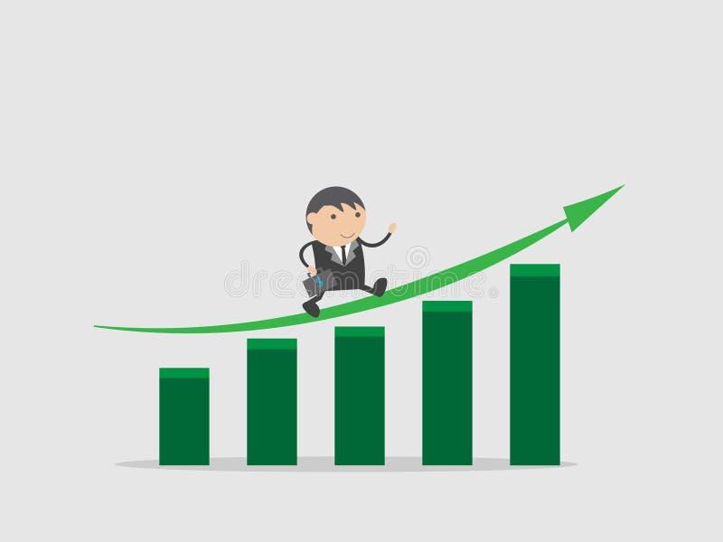 Biznesmen z biznesowym Wzrostowym wykresem lub Inwestuje zapas i dostaje wysoką wartość Doodle postać z kreskówki wektorowy ilust royalty ilustracja
