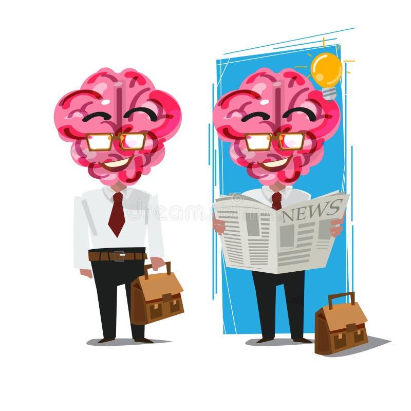 Biznesmen z Brian głowy mieniem i czytanie gazetą - vect ilustracja wektor