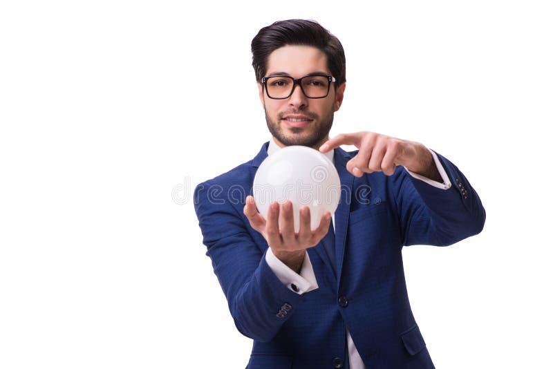 Biznesmen z crystall piłką odizolowywającą na białym tle fotografia royalty free